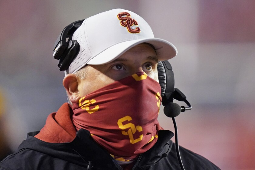 USC coach Clay Helton in the first half against Utah on Nov. 21.