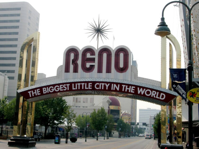 The iconic Reno Arch in downtown Reno.