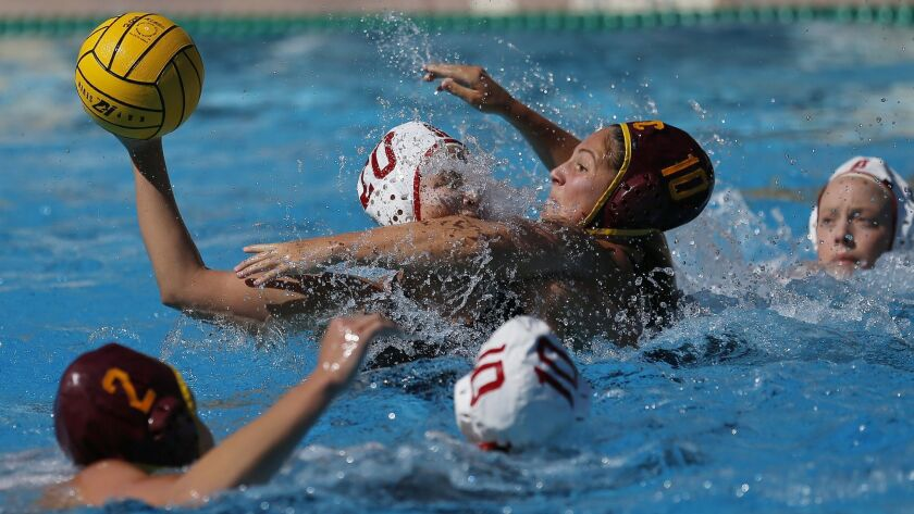 Stanford's Ryann Neushul (20) battles for the ball against the Southern California's Alejandra Aznar
