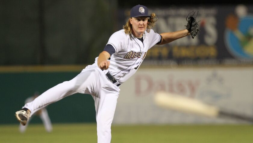 Padres pitching prospect Trey Wingenter with Double-A San Antonio.