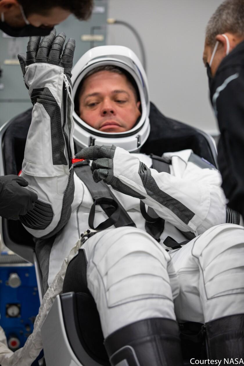NASA astronaut Robert Behnken in the suit-up room at KSC (May 30, 2020)