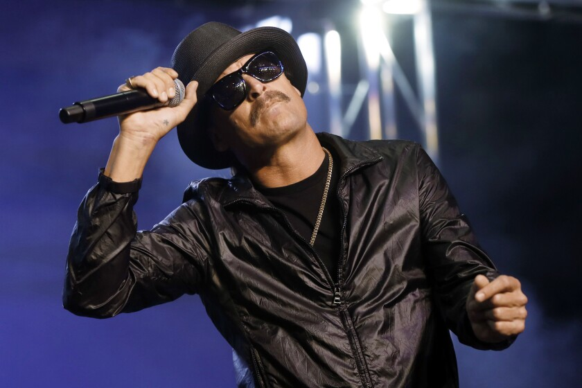 """FILE - In this Wednesday, Oct. 17, 2018 file photo, Kid Rock performs in Pontiac, Mich. The owners of the Detroit sports arena housing Kid Rock's restaurant say the musician recently filmed delivering a vulgarity-laced rant against Oprah Winfrey won't renew his licensing agreement for the eatery. An Ilitch Holdings official said Wednesday, Dec. 4, 2019, Kid Rock """"voluntarily decided"""" not to renew the deal coming up in April inside Little Caesars Arena (AP Photo/Paul Sancya File)"""