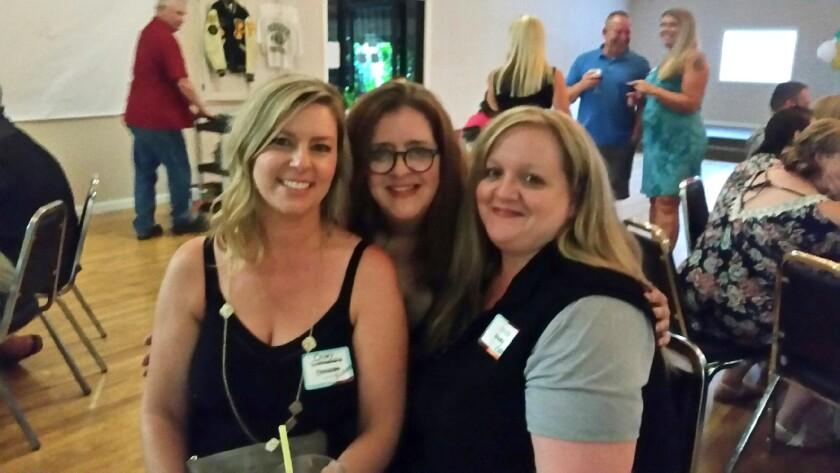 L-R Casey Rickards Dawson, Heidi Peden, Mandy Grainger, Paradise High Class of '93, at their 25th