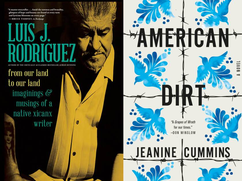 """Two book covers from the L.A. Times Book Club lineup, """"From Our Land to Our Land"""" and """"American Dirt."""""""