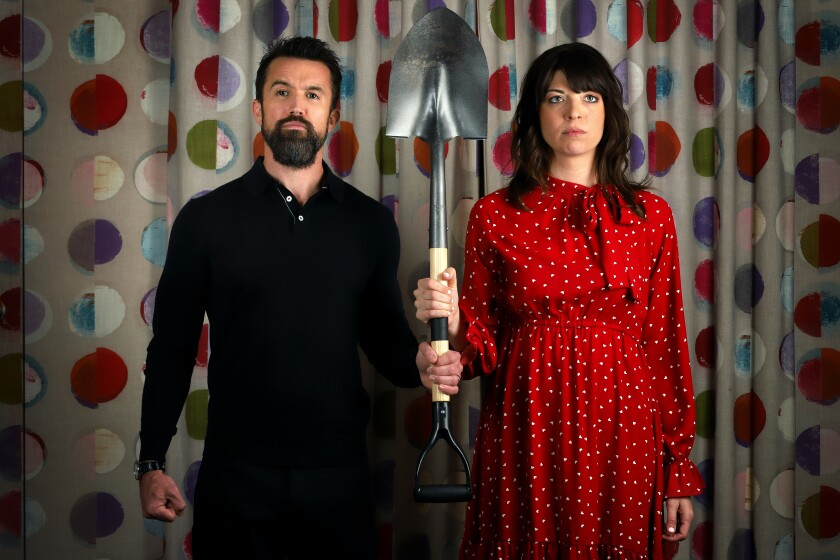 """""""Mythic Quest: Raven's Banquet"""" is a new sitcom that skewers game development from showrunner Rob McElhenney, left, and co-creator Megan Ganz."""