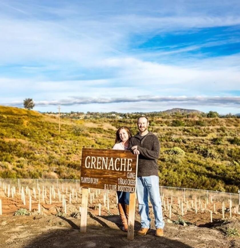 Lathom Farm & Vineyards: Andrew Lathom and fiancee Mariah in new Grenache vineyard.