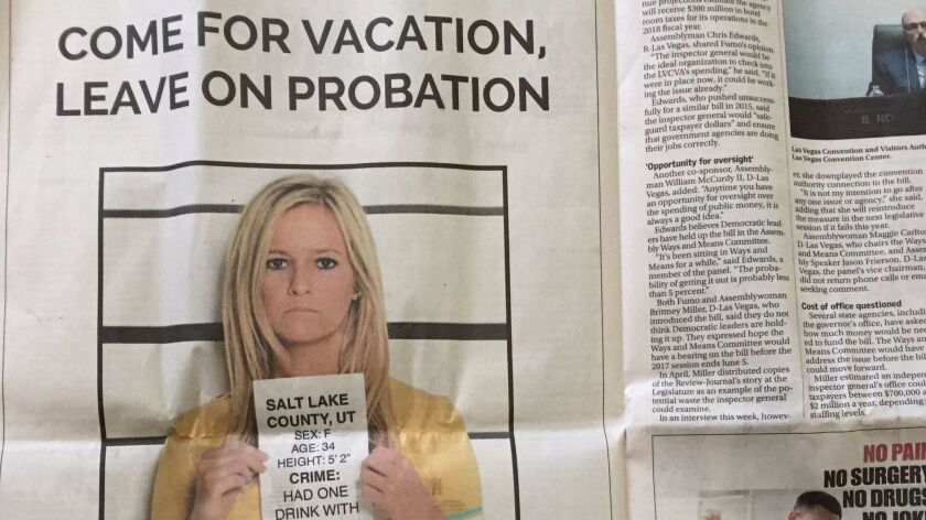 The American Beverage Institute ran a full-page ad in Nevada's largest newspaper depicting a woman h