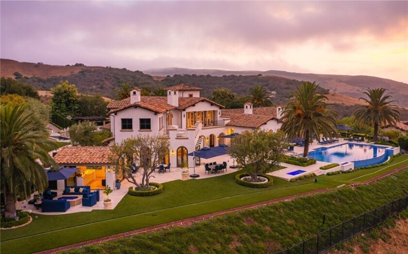 The exterior of a 13,000-square-foot mansion in Irvine.