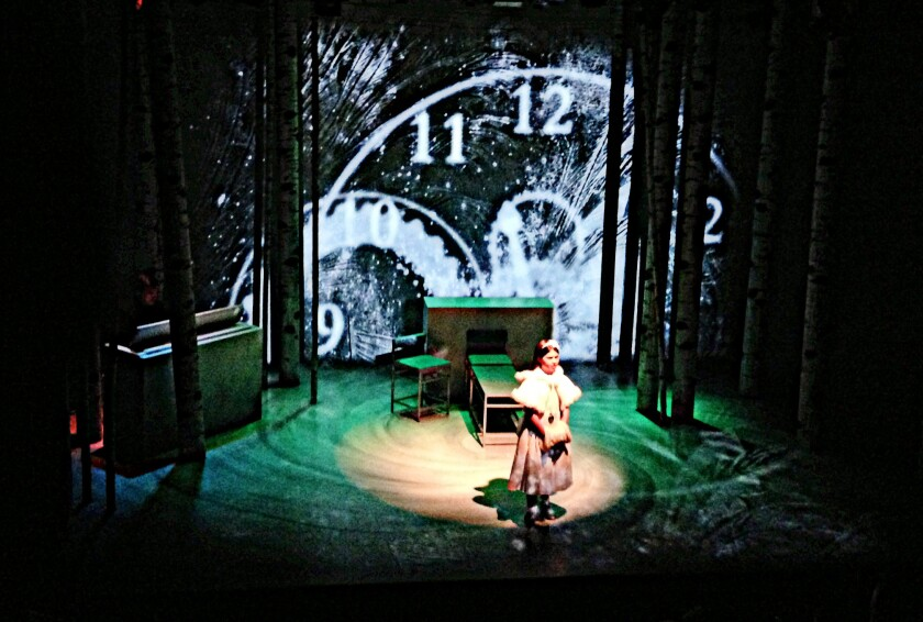"""Time (Samantha Salamoff) presides over """"Melissa Arctic,"""" a modern-day transposition of """"The Winter's Tale."""""""