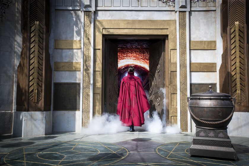 Doctor Strange performs at Avengers Campus.