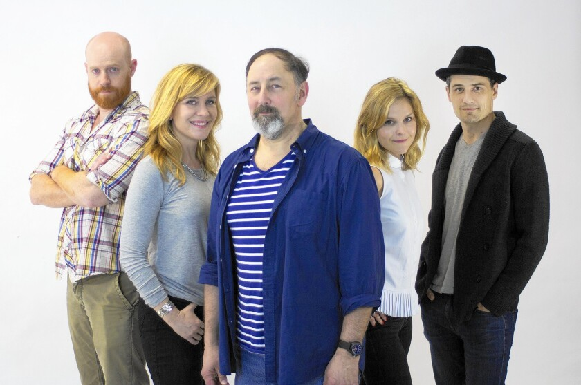 """Actors Jud Williford, Heidi Dippold, Arye Gross, Virginia Vale and Enver Gjokav in the world premiere of """"Future Thinking"""" by Eliza Clark."""