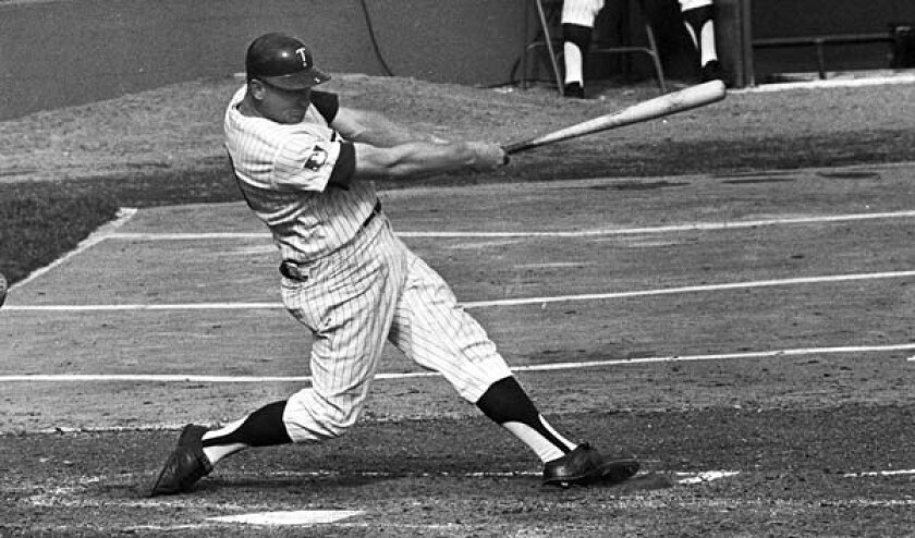 In this photo from 1969, Harmon Killebew slugs his 49th home run of the season against the Chicago White Sox. He was named the American League's most valuable player that year.