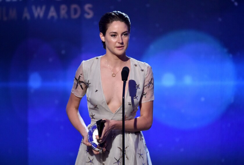 """At the Hollywood Film Awards, actress Shailene Woodley accepts the Hollywood Breakout Performance Actress award for her role in """"The Fault in Our Stars."""""""
