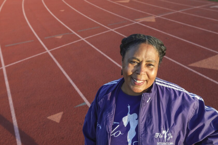 Track coach Elizabeth Tate at Hoover High School during track practice Feb. 5, 2020.