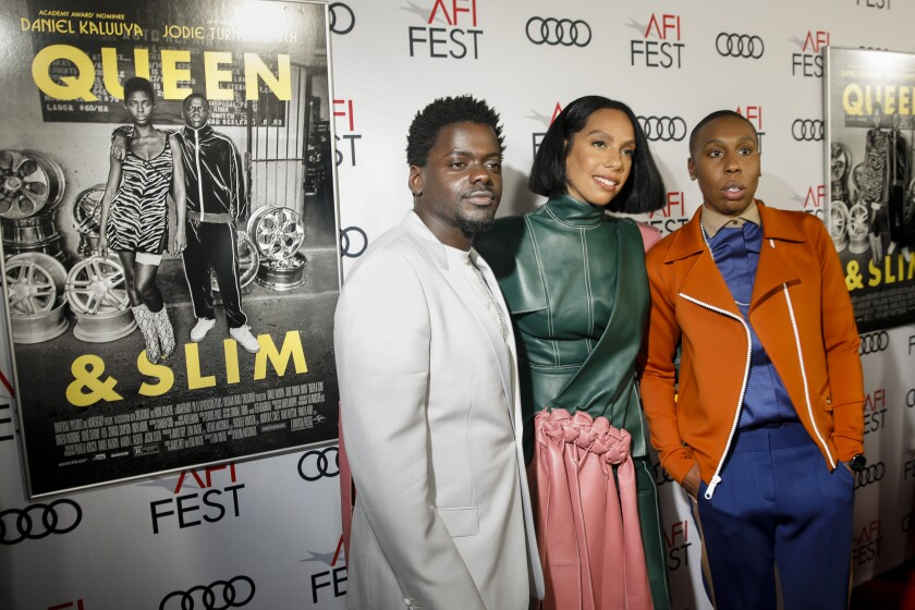 """Daniel Kaluuya, from left, Melina Matsoukas and Lena Waithe at the premiere of """"Queen & Slim"""" at AFI Fest."""