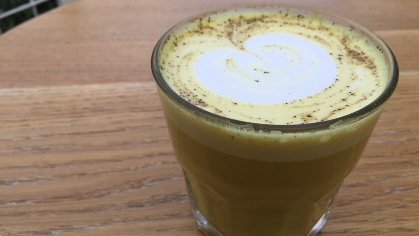 The turmeric/ginger almond macadamia drink from G&B; Coffee and Go Get Em Tiger
