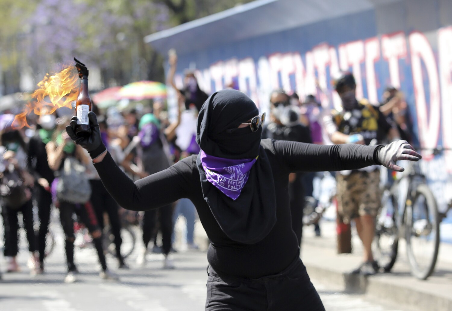 Dozens injured as feminist protesters clash with police in Mexico's capital