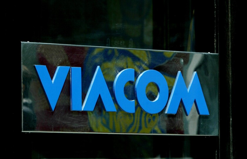 Viacom logo on the exterior of the company's headquarters.