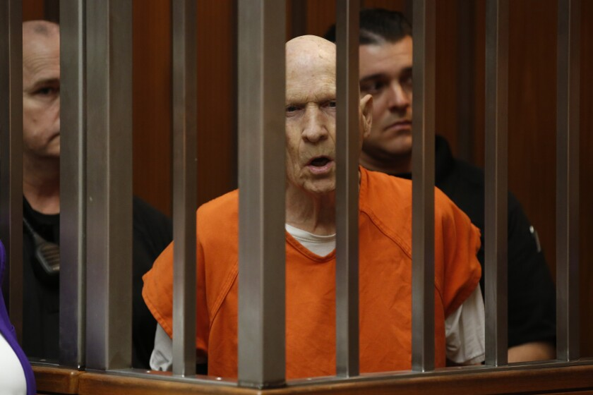 Joseph James DeAngelo, charged with being the Golden State Killer, appears in Sacramento County Superior Court in Sacramento, Calif., Thursday, March 12, 2020. Superior Court Judge Steve White approved prosecutors' request to take more DNA samples from DeAngelo, over the objections of his defense attorneys. (AP Photo/Rich Pedroncelli)