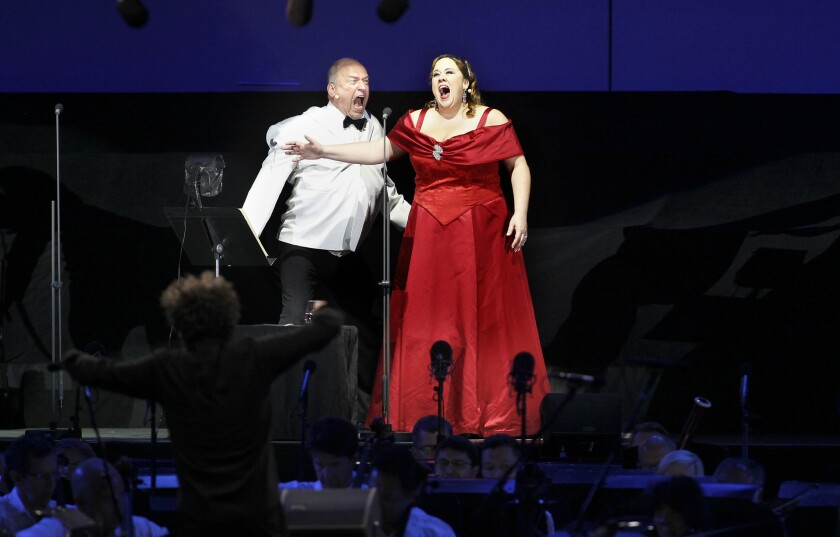 "Falk Struckmann and Julianna Di Giacomo in ""Tosca"" on Sunday at the Hollywood Bowl."