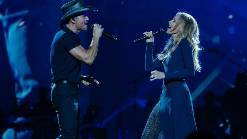 Faith Hill and Tim McGraw in concert in New Orleans. CREDIT: Becky Fluke