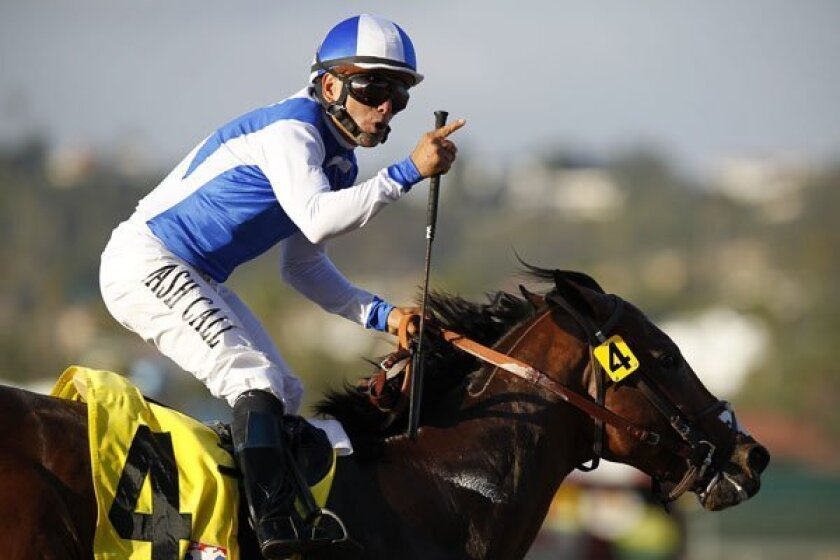 Patrick Valenzuela on J P's Gusto having just won the 63rd Running of the Del Mar Futurity.
