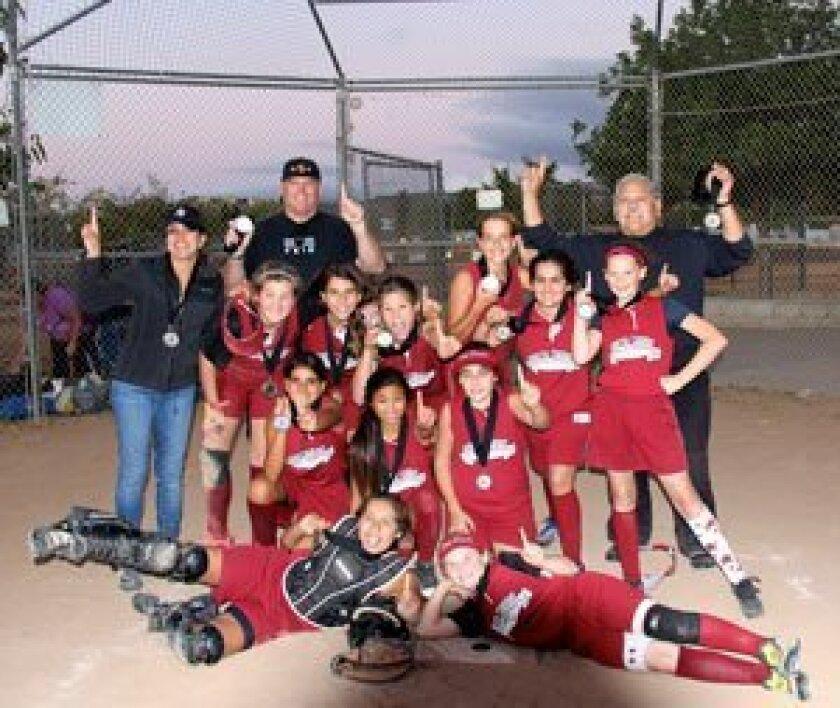 Dirt Devils: First row, left to right: Maryjane Gonzales (ca), Kristin Bitter (2b); Second row, left to right: Valeria Caballero (p), Megan Gutierrez (ss), Rubie Wexler (3b); Third row, left to right: Macall Peed (1b), Ava Fargo (of), Bella Jandreski (of), Lindsey Miller (p), Hasti Kahksari (of), Allie Deere (of); Top, left to right: Team Mom: Lourdes Caballero, coach: Tom Deere, manager: Mike Moreno.