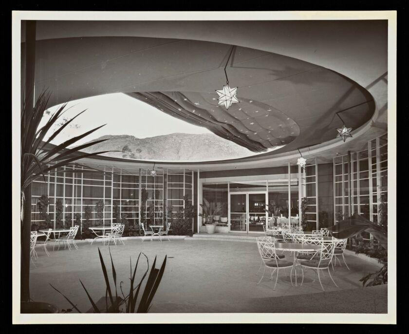 A black and white image of the circular open-air patio at the El Mirador Hotel in Palm Springs.