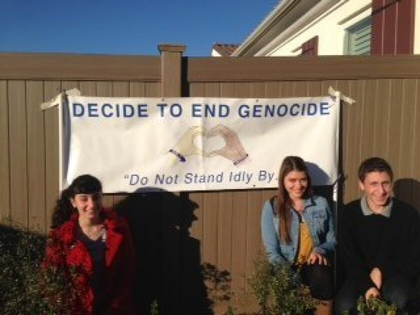 SDJA students Zander Cowan (right) Naomi Suminski (center) and Ilana Engel (left) are planning the Walk to End Genocide at Ocean Air Park on April 7. Courtesy photo