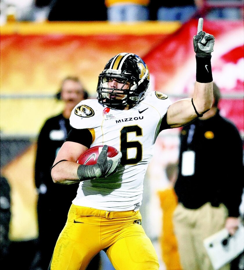Missouri Tigers linebacker Andrew Gachkar against the Iowa Hawkeyes in Dec., 2010