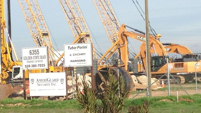 Tutor Perini cranes and other heavy construction equipment is shown in this 2016 file photo.