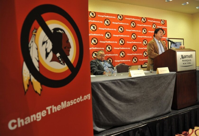 Ray Halbritter of the Oneida Indian Nation is seen in October 2014 speaking at a news conference after meeting NFL officials about changing the name of the Washington Redskins.
