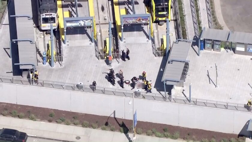 An overhead view of the shooting scene at the downtown Santa Monica Expo Line station.