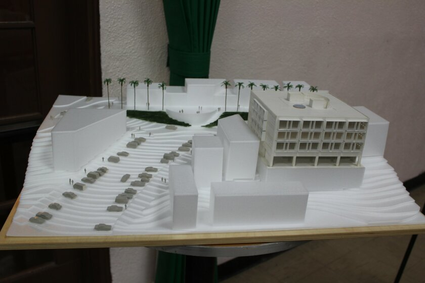 A model of the Belvedere Promenade project, which has been proposed for a stretch of Prospect Street, between Herschel and Girard avenues.