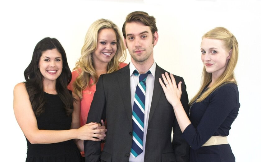 """Mary Joe Duggan, Ashlee Mayer, Andrew Wells Ryder and Katie Whalley (left to right) of Cygnet Theatre's """"Company."""""""