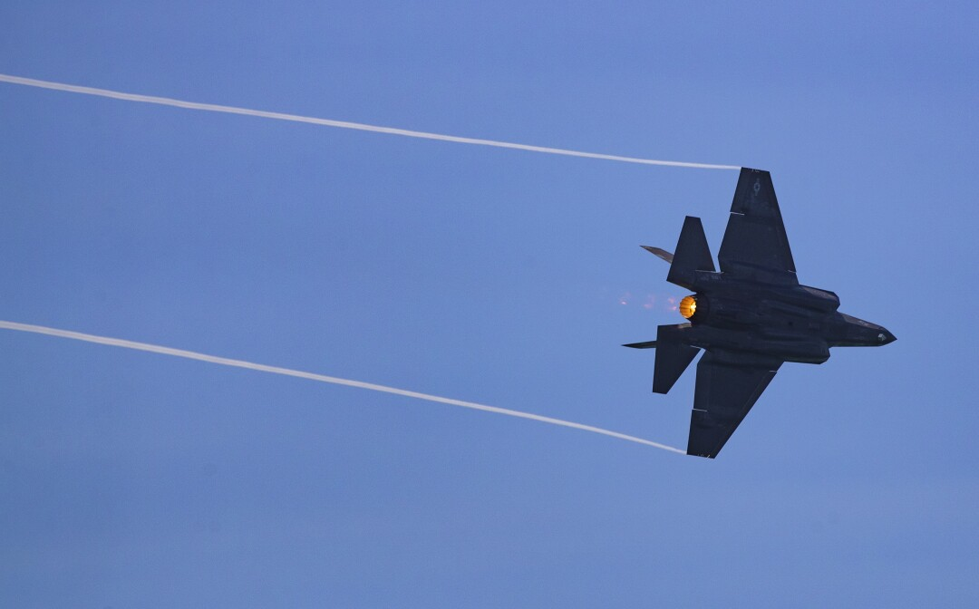 U.S. Air Force F-35 streaks over the ocean