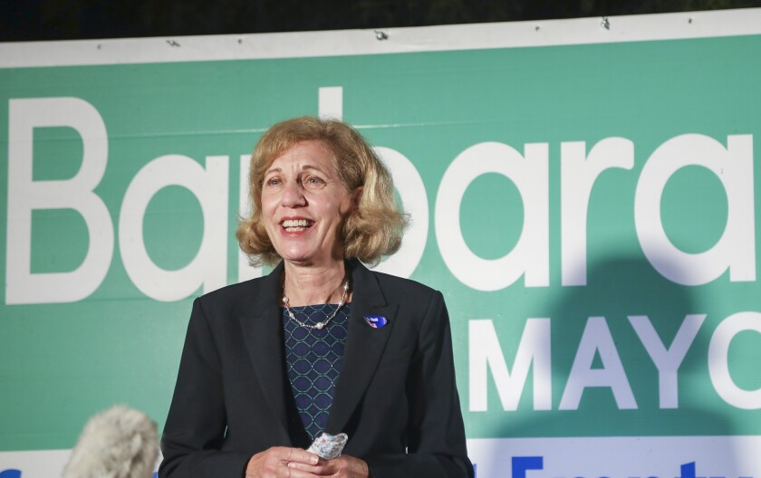 Barbara Bry speaks to supporters of her San Diego mayoral campaign on Election Night, Nov. 3.