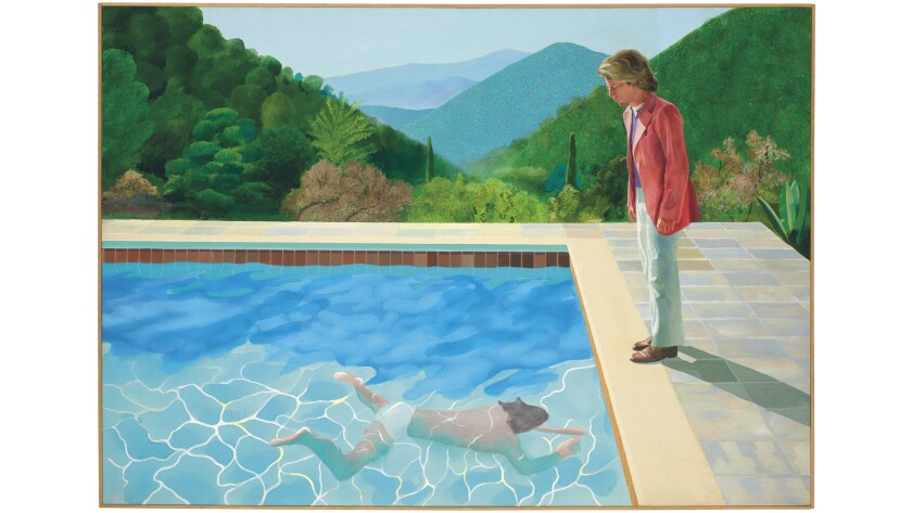 """British artist David Hockney's painting """"Portrait of an Artist (Pool with Two Figures)"""" was sold at auction by Christie's in New York for $90.3 million."""