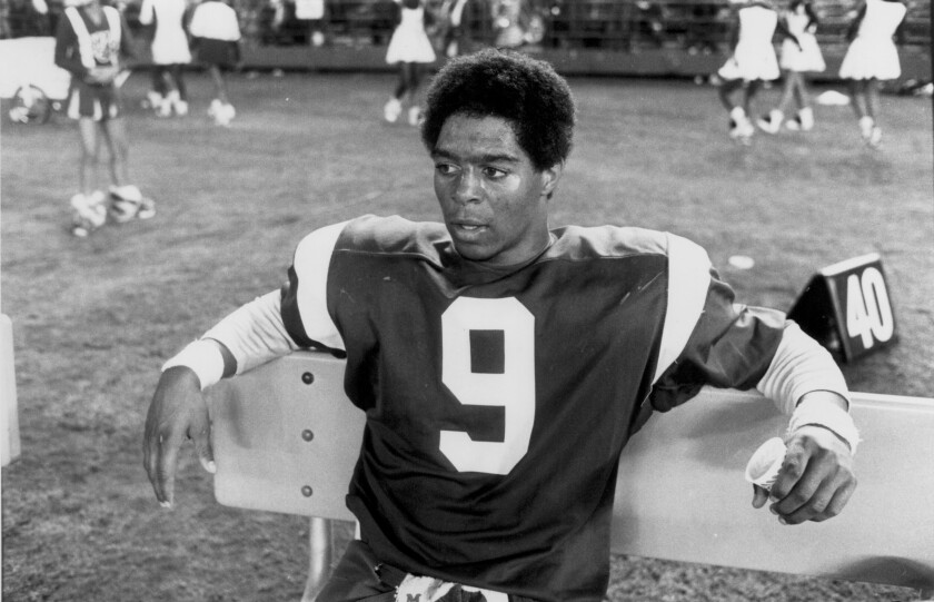 Marcus Allen of Lincoln High takes a well-earned break at CIF championship football game in 1977.
