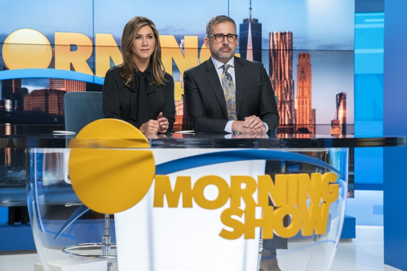 "Jennifer Aniston and Steve Carell portray anchors in ""The Morning Show"" on Apple TV+. His character gets fired in a sexual misconduct scandal."