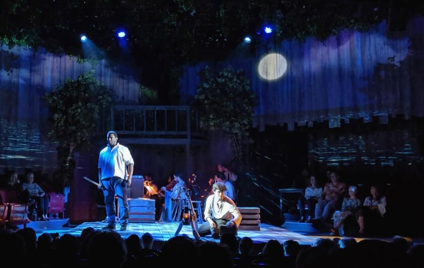 "A runaway slave (David Aron Damane) teaches Huck Finn (Josey Montana McCoy) a life-changing lesson in ""Big River"" at the Rubicon in Ventura."