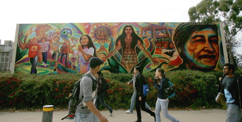 Artist Mario Torero's $10,000 mural is on a 15-by-50-foot piece of canvas hanging on the side of UCSD's Peterson Hall.