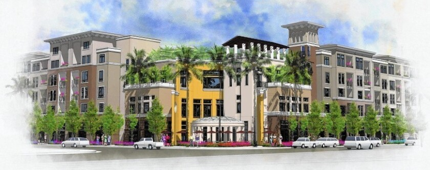 The Residences at Newport Place, depicted in this rendering, would replace the MacArthur Square shopping center in Newport Beach with 384 rental housing units and 5,677 square feet of retail or restaurant space.