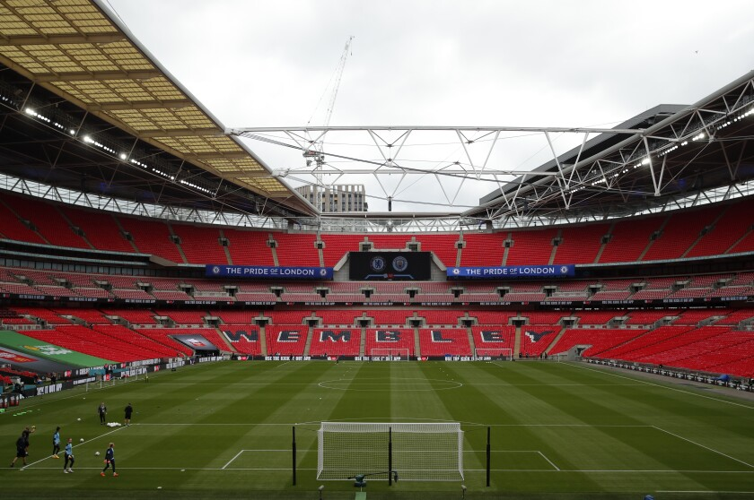 Empty stands before the English FA Women's Community Shield soccer match between Chelsea and Manchester City at Wembley stadium in London, Saturday, Aug. 29, 2020. (Andrew Couldridge/Pool via AP)