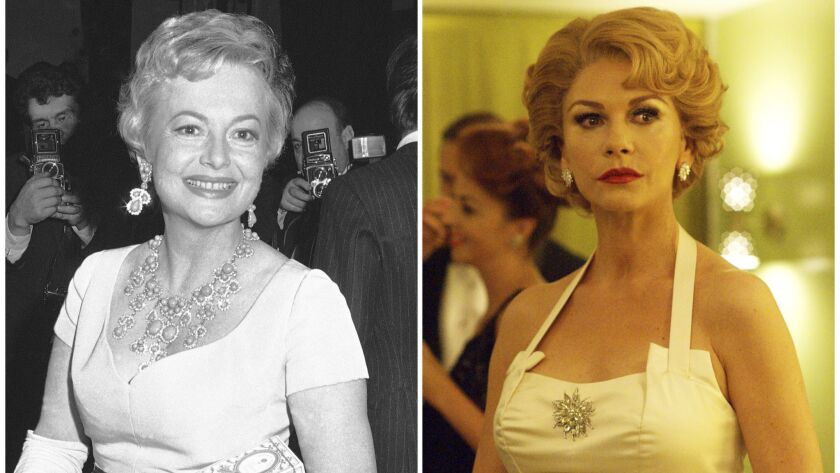 """In this combination photo, actress Olivia de Havilland appears in Rome on Oct. 4, 1968, left, and actress Catherine Zeta-Jones portrays De Havilland in a scene from the FX series """"Feud: Betty and Joan."""""""
