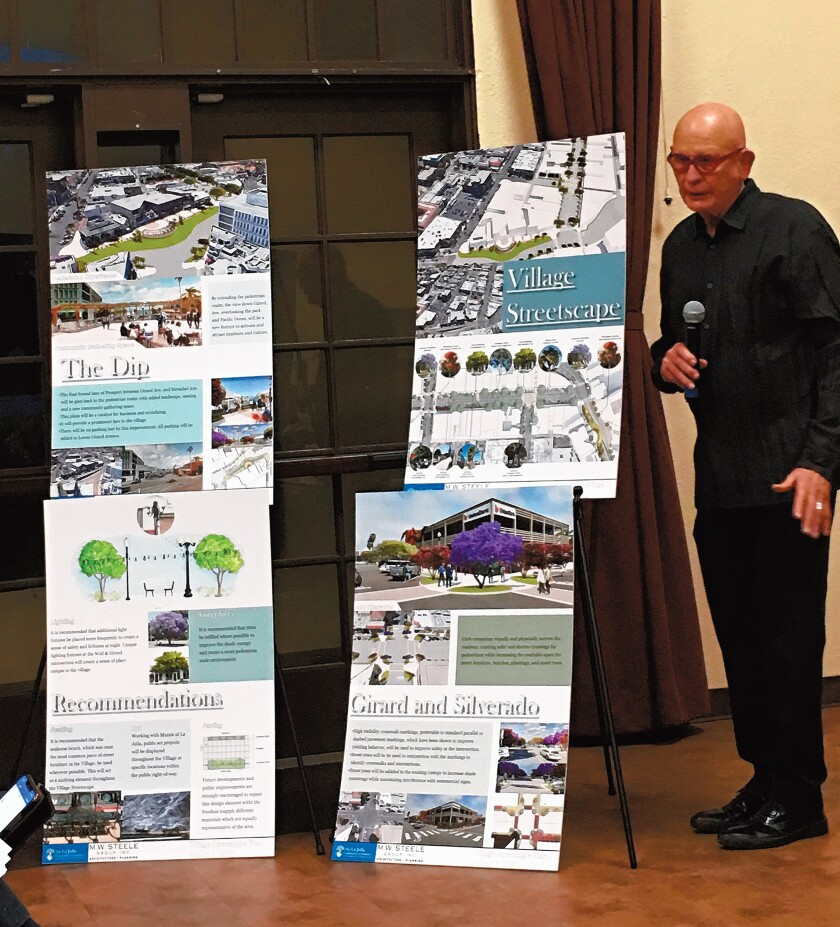Images depicting the proposed La Jolla Village Streetscape Plan are presented by architect Mark Steele during the La Jolla Community Planning Association meeting March 5, 2020 at the La Jolla Recreation Center. His firm received a $75,000 grant from the La Jolla Community Foundation to study and develop a streetscape vision for La Jolla.