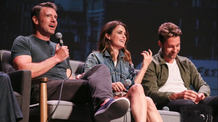 "The ""Felicity"" 20-year reunion at the 2018 ATX Festival: from left, Scott Foley (Noel), Keri Russell (Felicity) and Scott Speedman (Ben)."