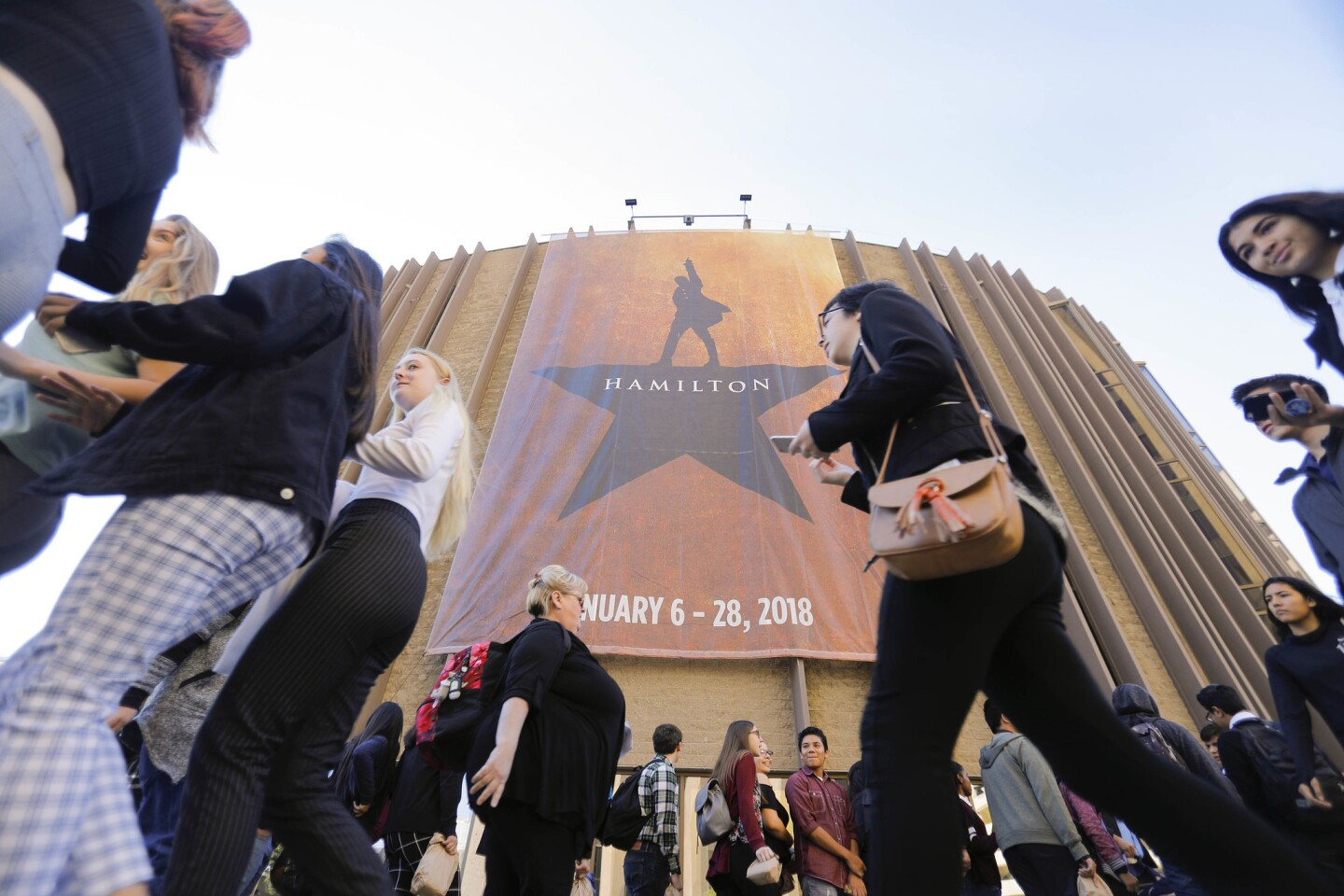 About 2, 800 high school students studying American history attended EduHAM, the Hamilton Education Program at The San Diego Civic Theatre for a day long program which included a special performance of the hit play, student performances and a discussion with cast members of the play.