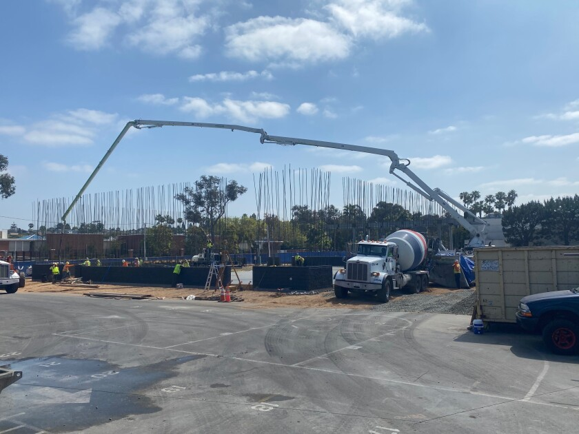 Construction continues on the athletics and activities center for Our Lady Queen of Angels Catholic School in Newport Beach.