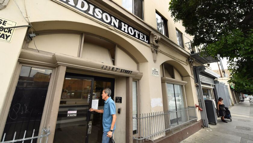 The AIDS Healthcare Foundation has spent roughly $8 million to purchase the Madison Hotel, a single-room-occupancy building on Seventh Street that it plans to spruce up and rent out, giving priority to people with HIV and other chronic illnesses.